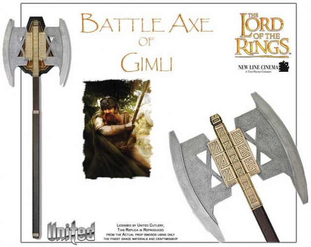 LORD OF THE RINGS Battle Axe of Gimli United Cutlery Prop Replica